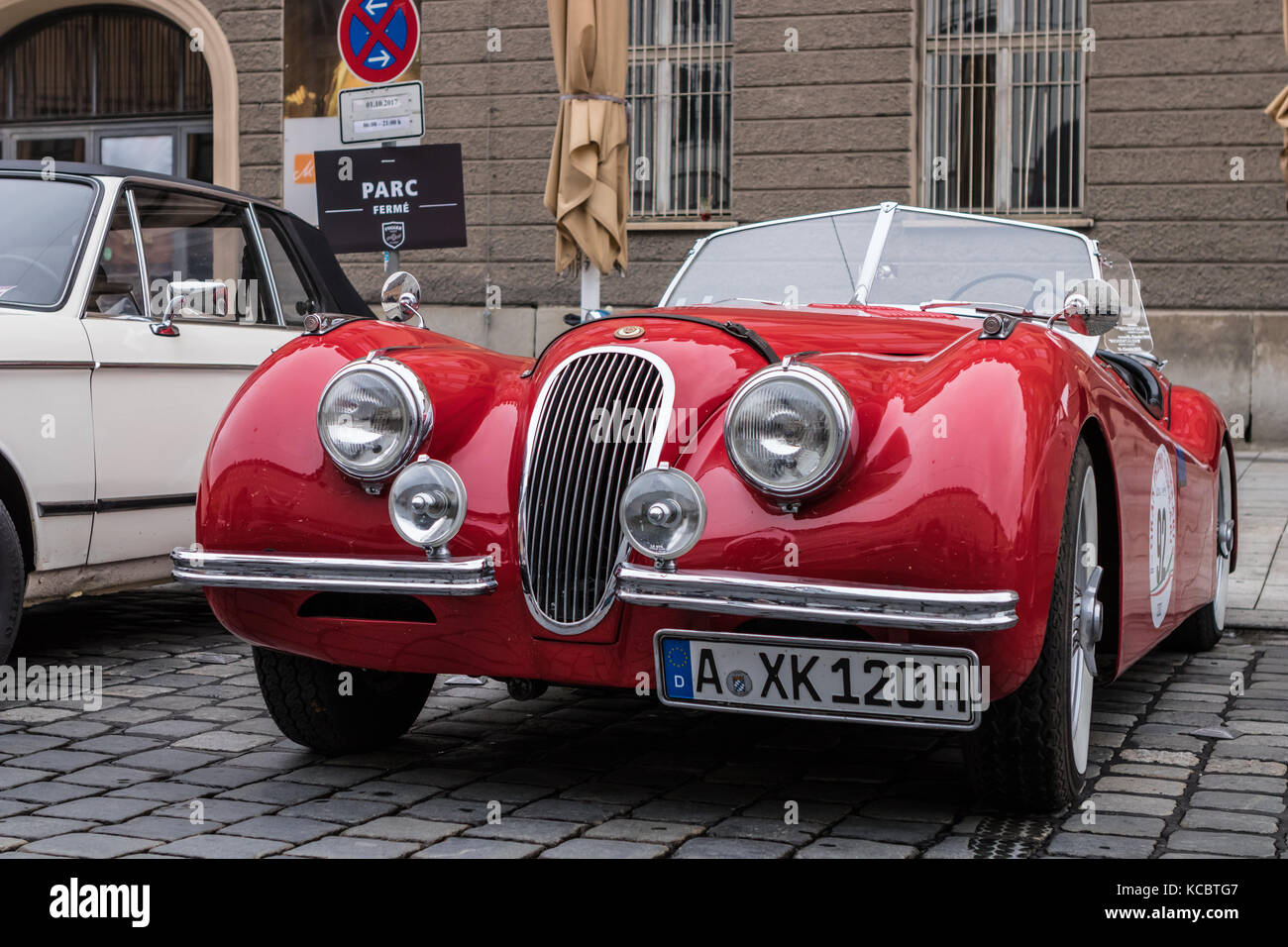 Augsburg, Germany   October 1, 2017: Jaguar Oldtimer Car At The Fuggerstadt  Classic 2017 Oldtimer Rallye On October 1, 2017 In Augsburg, Germany
