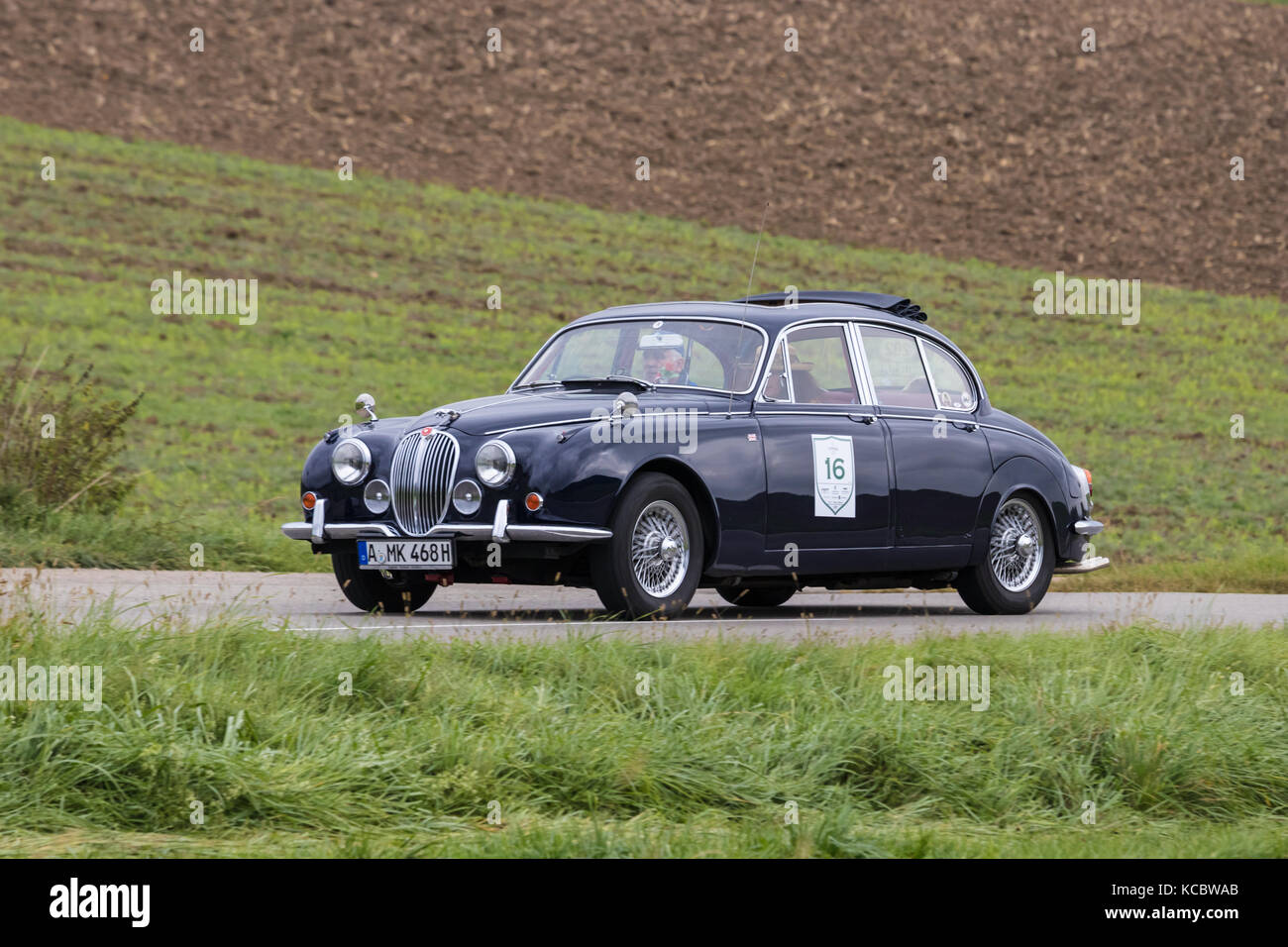Augsburg, Germany   October 1, 2017: Jaguar 340 Oldtimer Car At The  Fuggerstadt Classic 2017 Oldtimer Rallye On October 1, 2017 In Augsburg,  Germany
