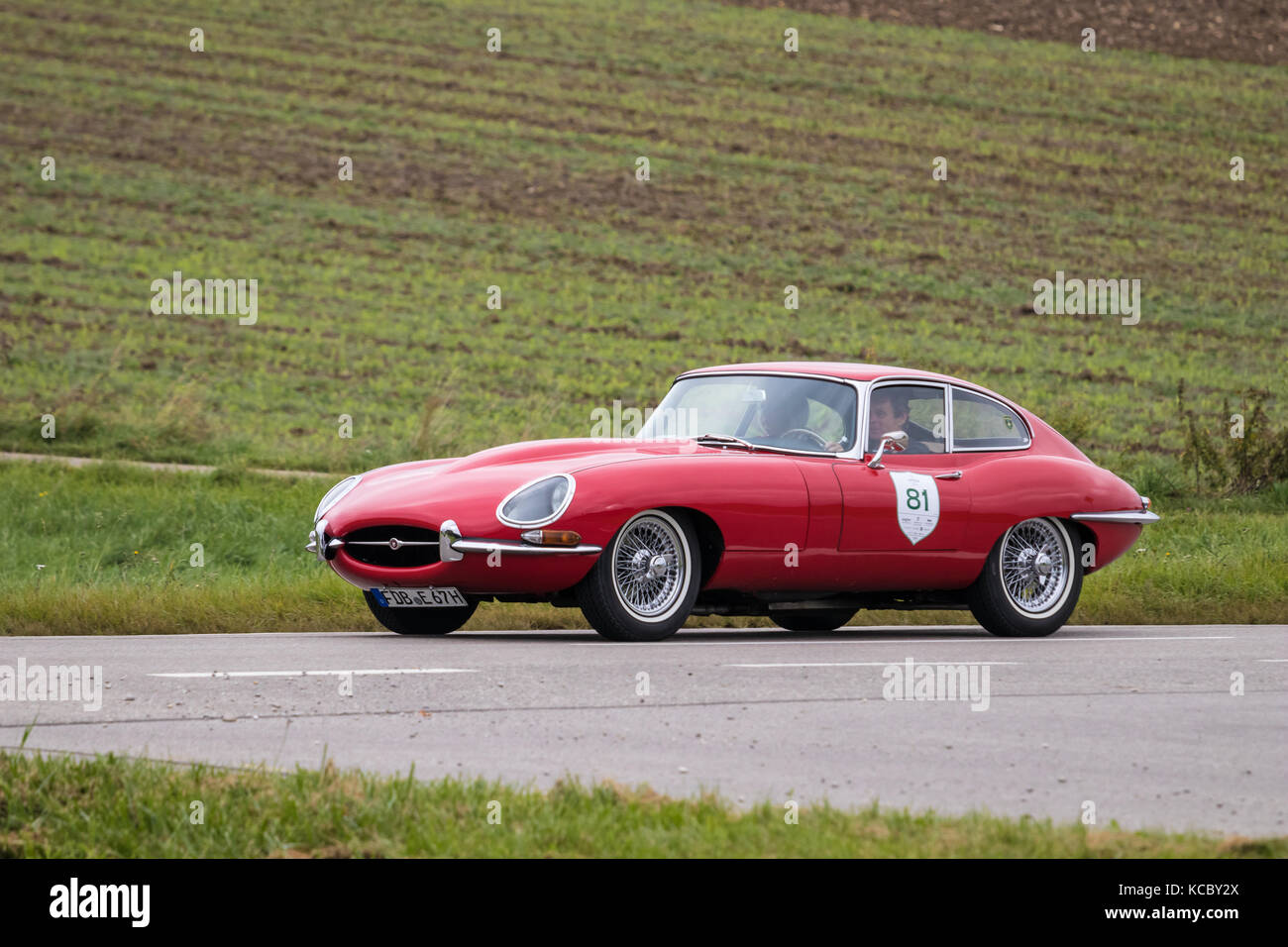 Augsburg, Germany   October 1, 2017: Jaguar E Type Oldtimer Car At The  Fuggerstadt Classic 2017 Oldtimer Rallye On October 1, 2017 In Augsburg,  German