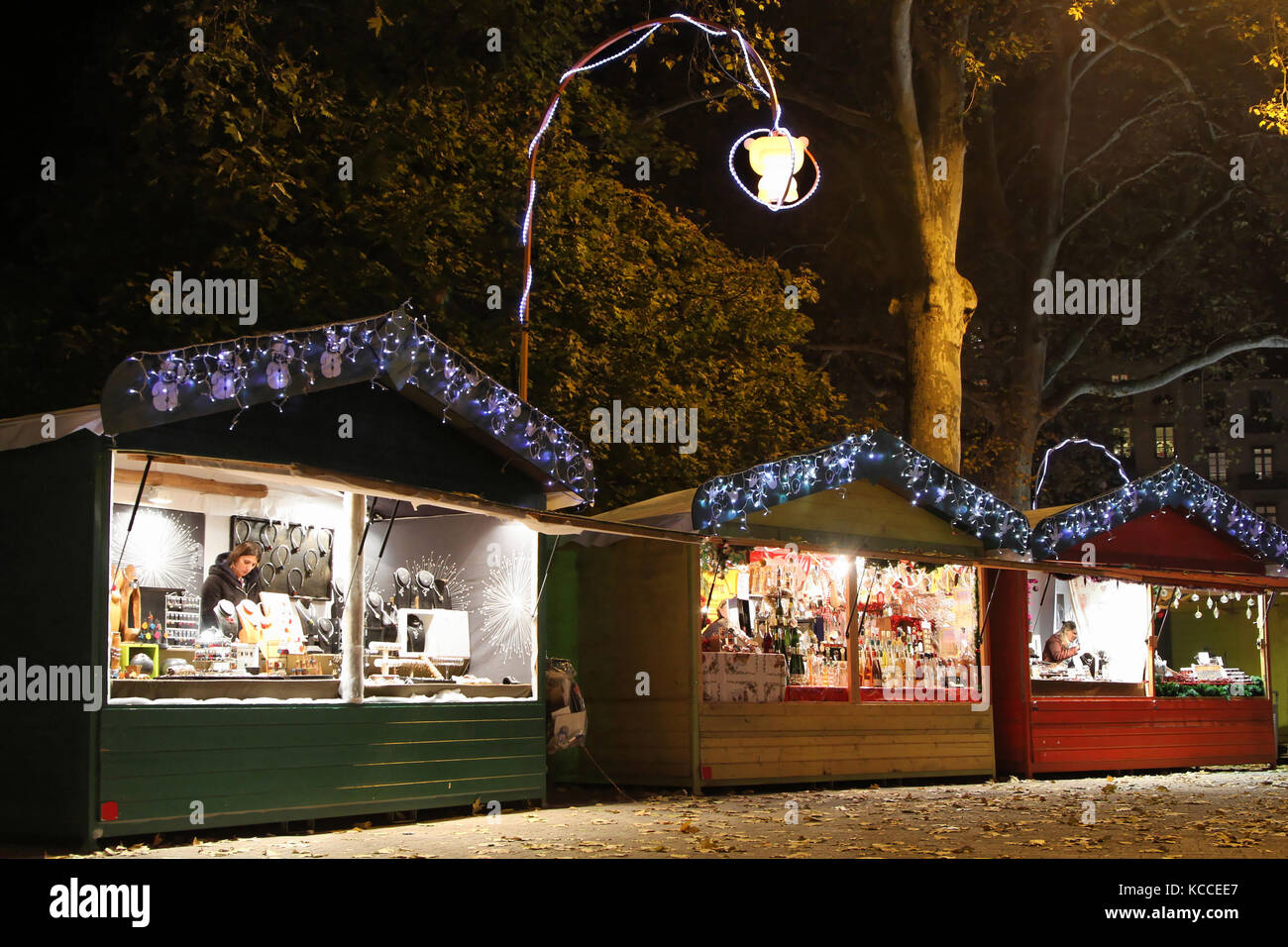 LYON, FRANCE, NOVEMBER 28 - Some small stores of the \