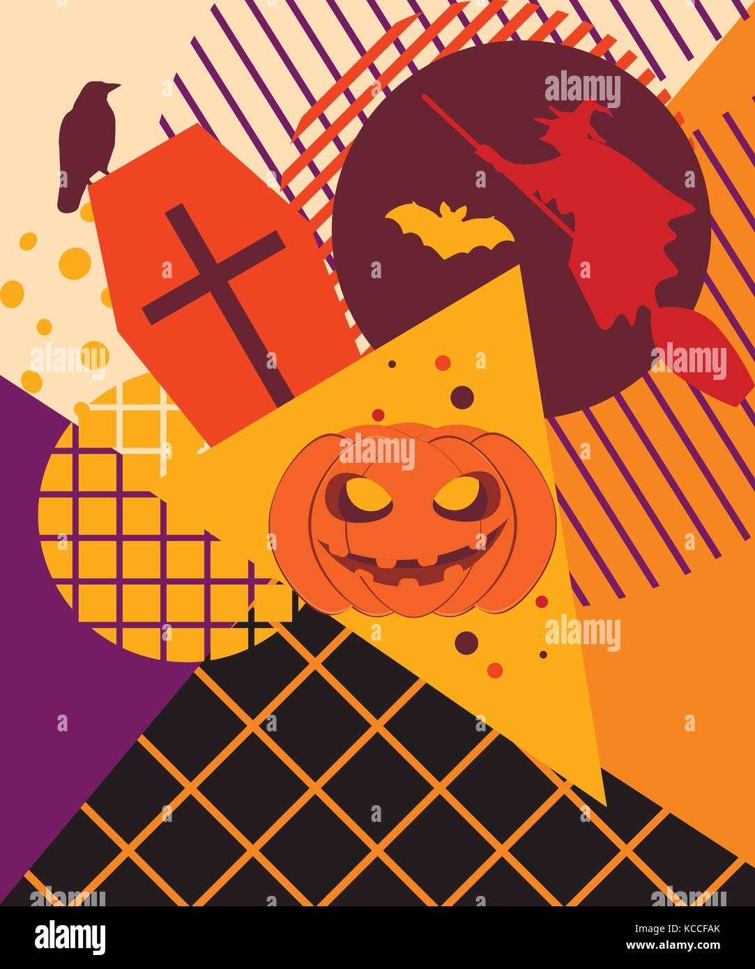 halloween memphis college festive background with mystical creatures and geometric figures in the style of the 80s vector illustration