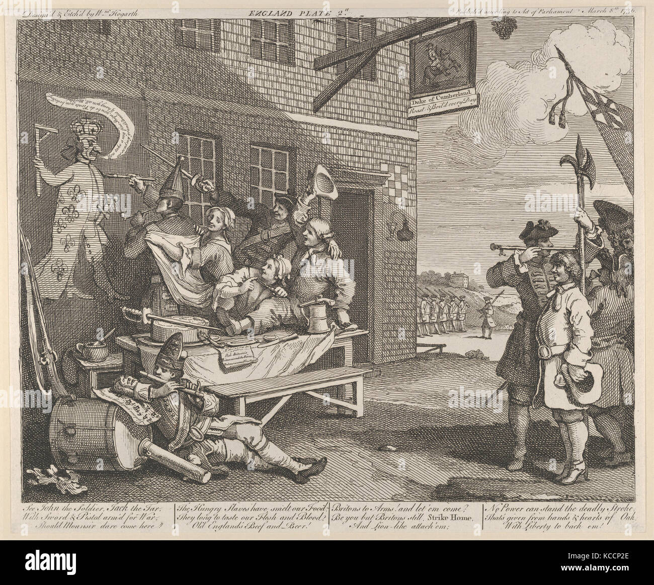 The Invasion, Plate 2: England, William Hogarth, March 8, 1756