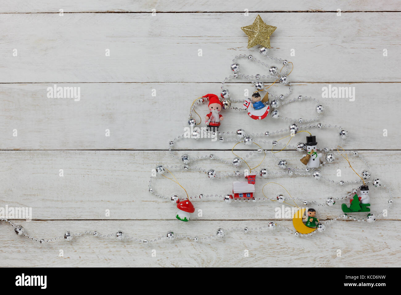 Aerial View Of Merry Christmas Tree With Decorations Concept BackgroundSeveral Items On Modern Rustic White Wooden At Home Office Studio Deskfree Sp