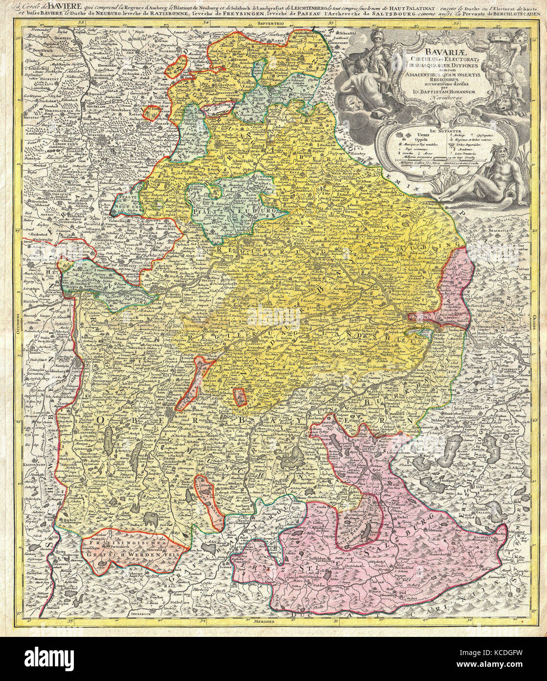 Old map bavaria germany stock photos old map bavaria germany 1728 homann map of bavaria germany stock image sciox Image collections