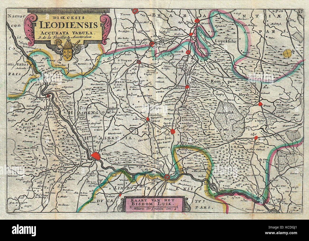 1747 la feuille map of liege belgium leodiensis