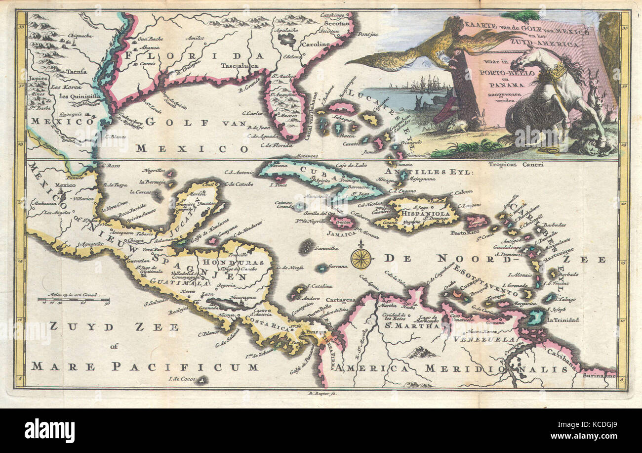 Mexico Florida Map.1747 Ruyter Map Of Florida Mexico And The West Indies Stock Photo
