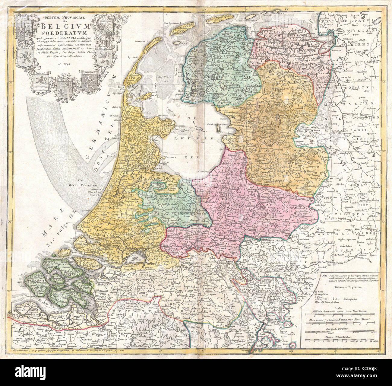 1748 Homann Heirs Map of Holland Netherlands