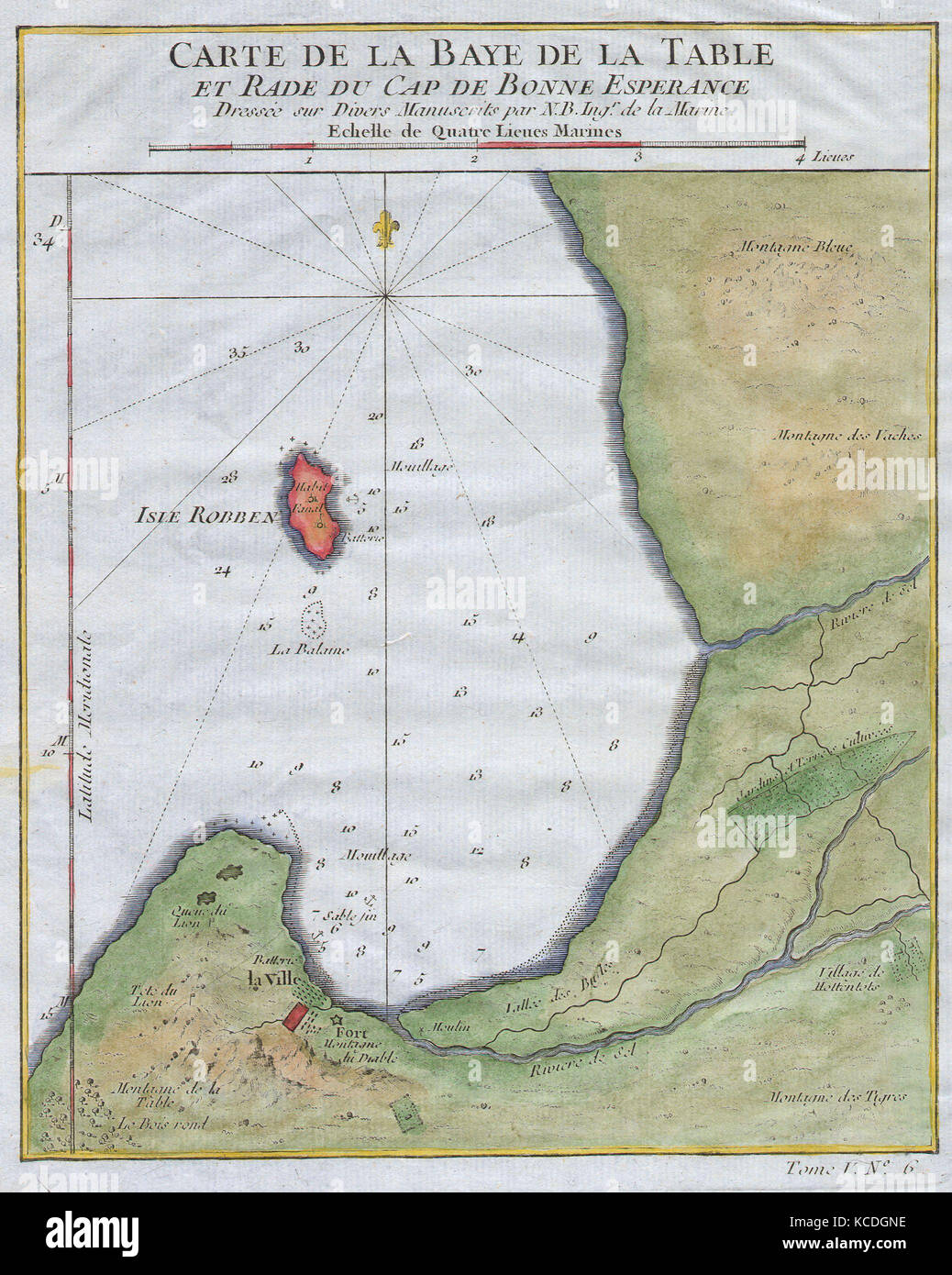 1763, Bellin Map of Cape Town, Cape of Good Hope South Africa Stock ...