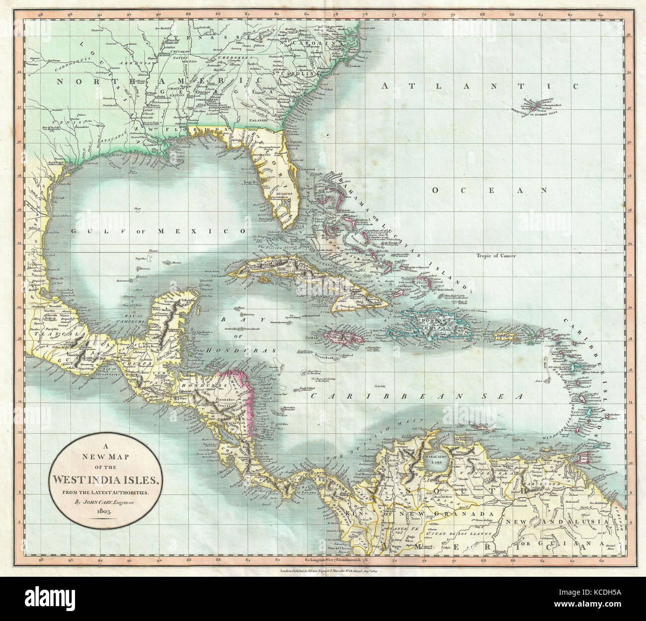 1803, Cary Map of Florida, Central America, the Bahamas, and the ...