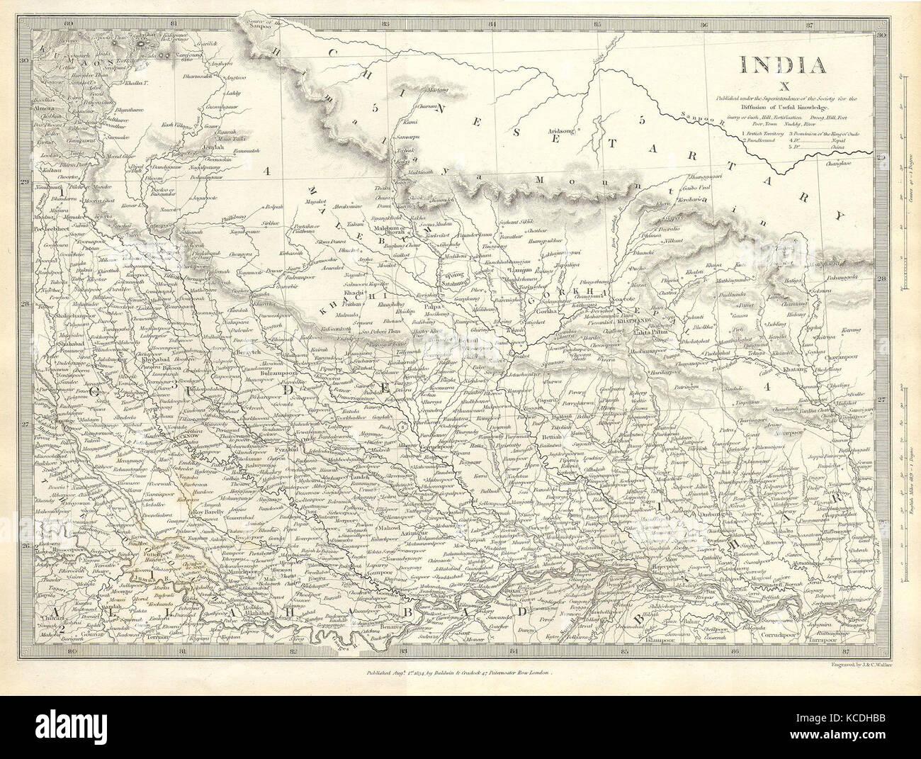 1834 SDUK Map of North India Nepal and Allahabad Stock Photo