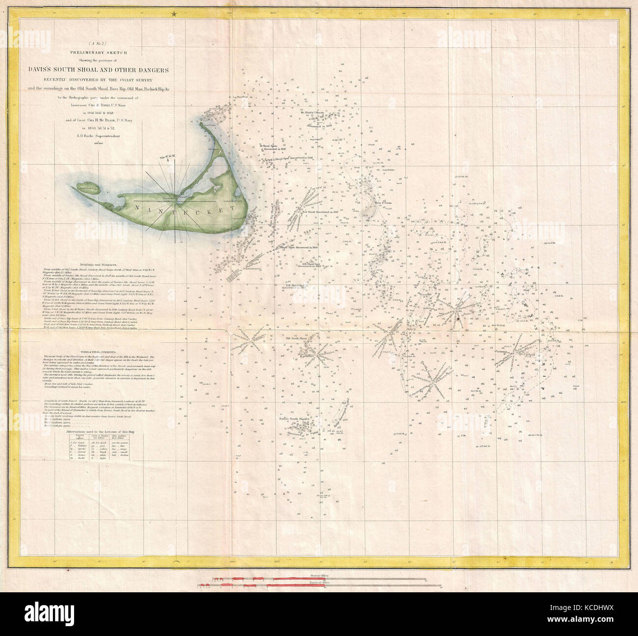 1853 US Coast Survey Nautical Chart or Map of Nantucket Stock