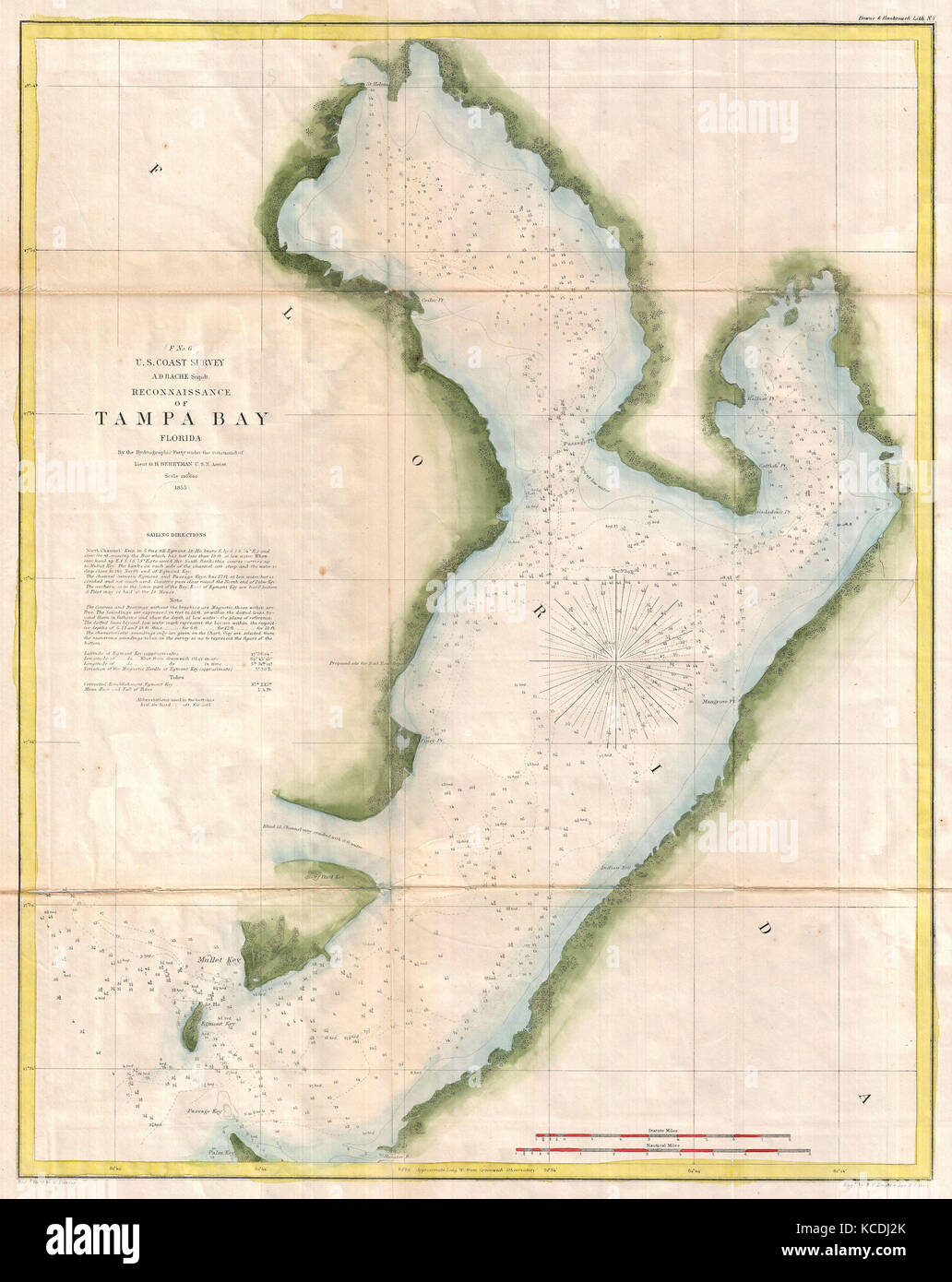 Map Of Tampa Bay Florida.1855 U S Coast Survey Chart Or Map Of Tampa Bay Florida Stock