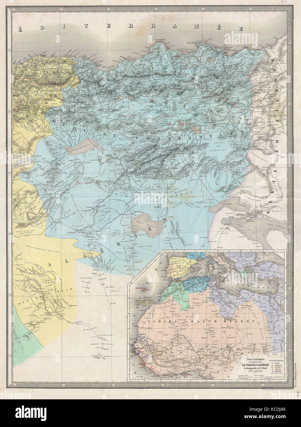 1857 Dufour Map of Constantine Algeria Stock Photo Royalty Free