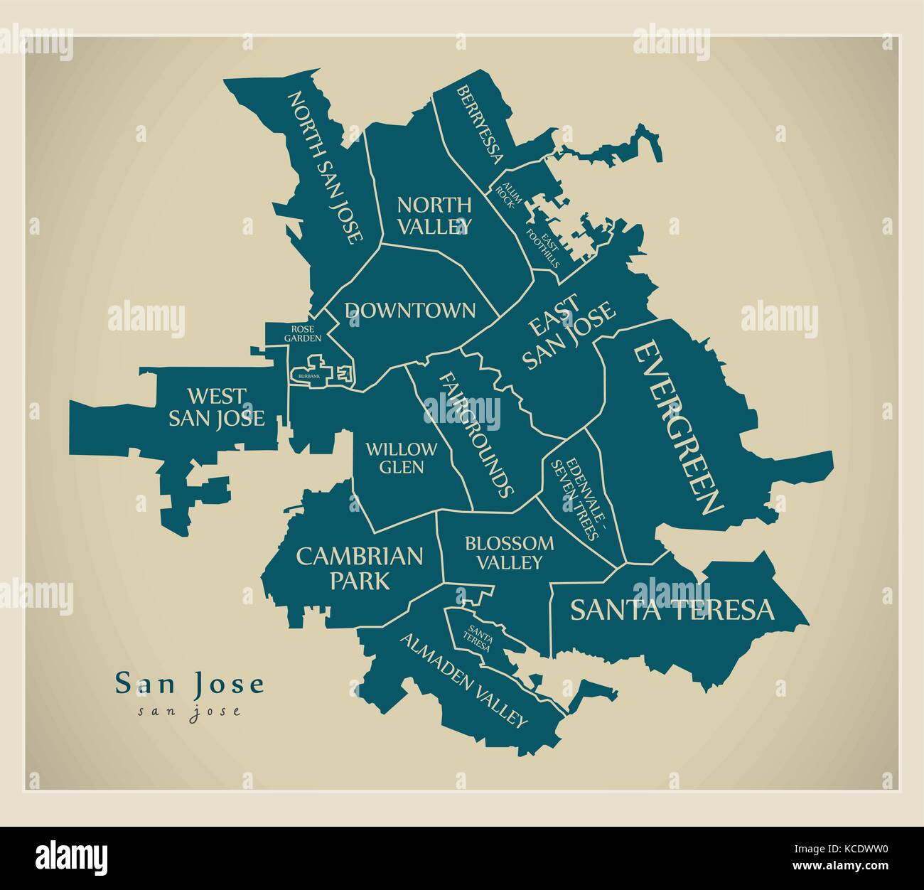 Modern City Map - San Jose city of the USA with neighborhoods and ...