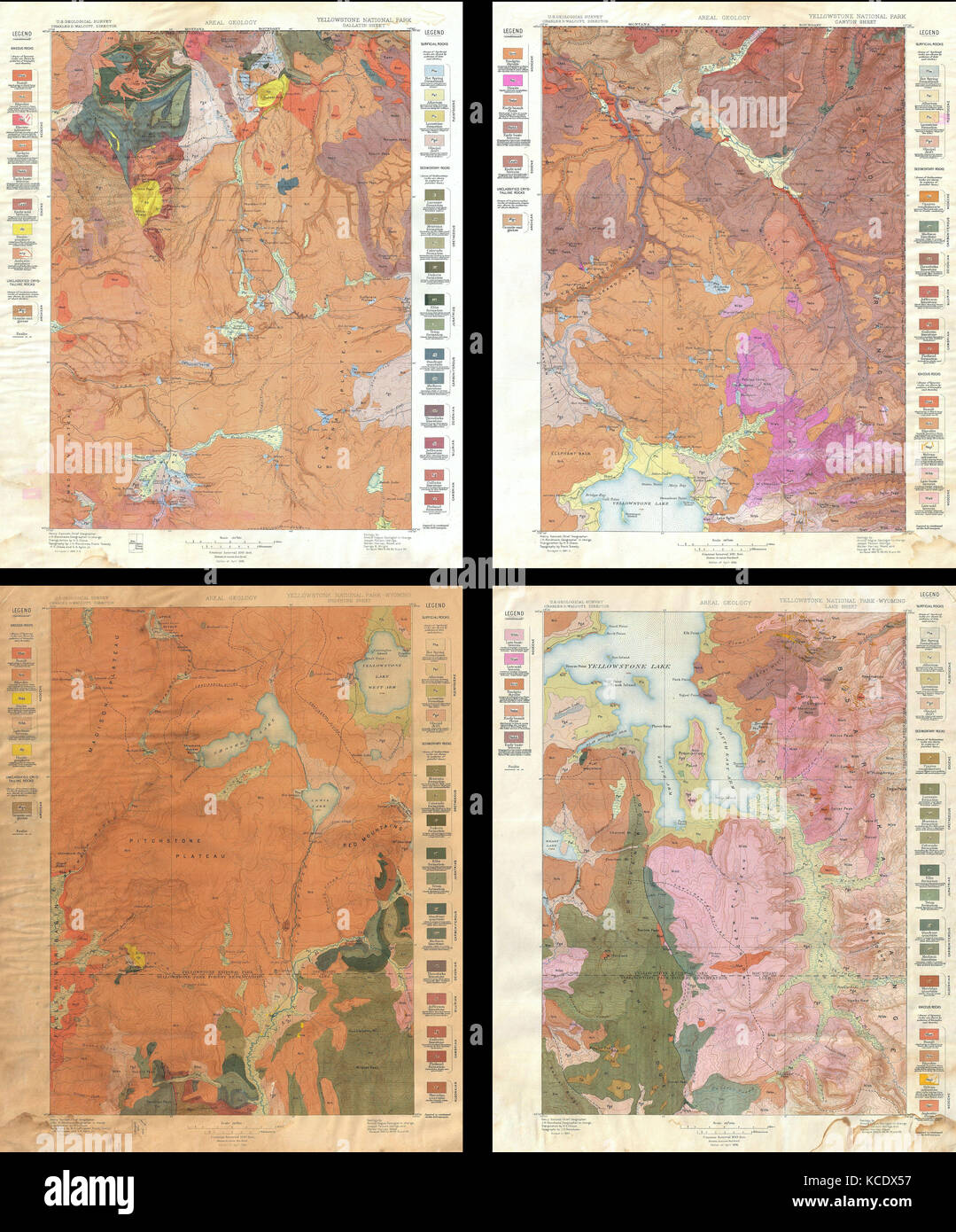1896 Us Geological Survey Geological Map Of Yellowstone National - Yellowstone-us-map