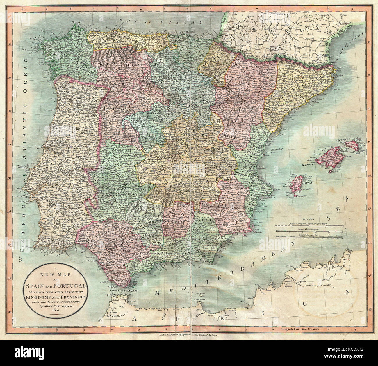 Cary Map Of Spain And Portugal John Cary - Portugal map english
