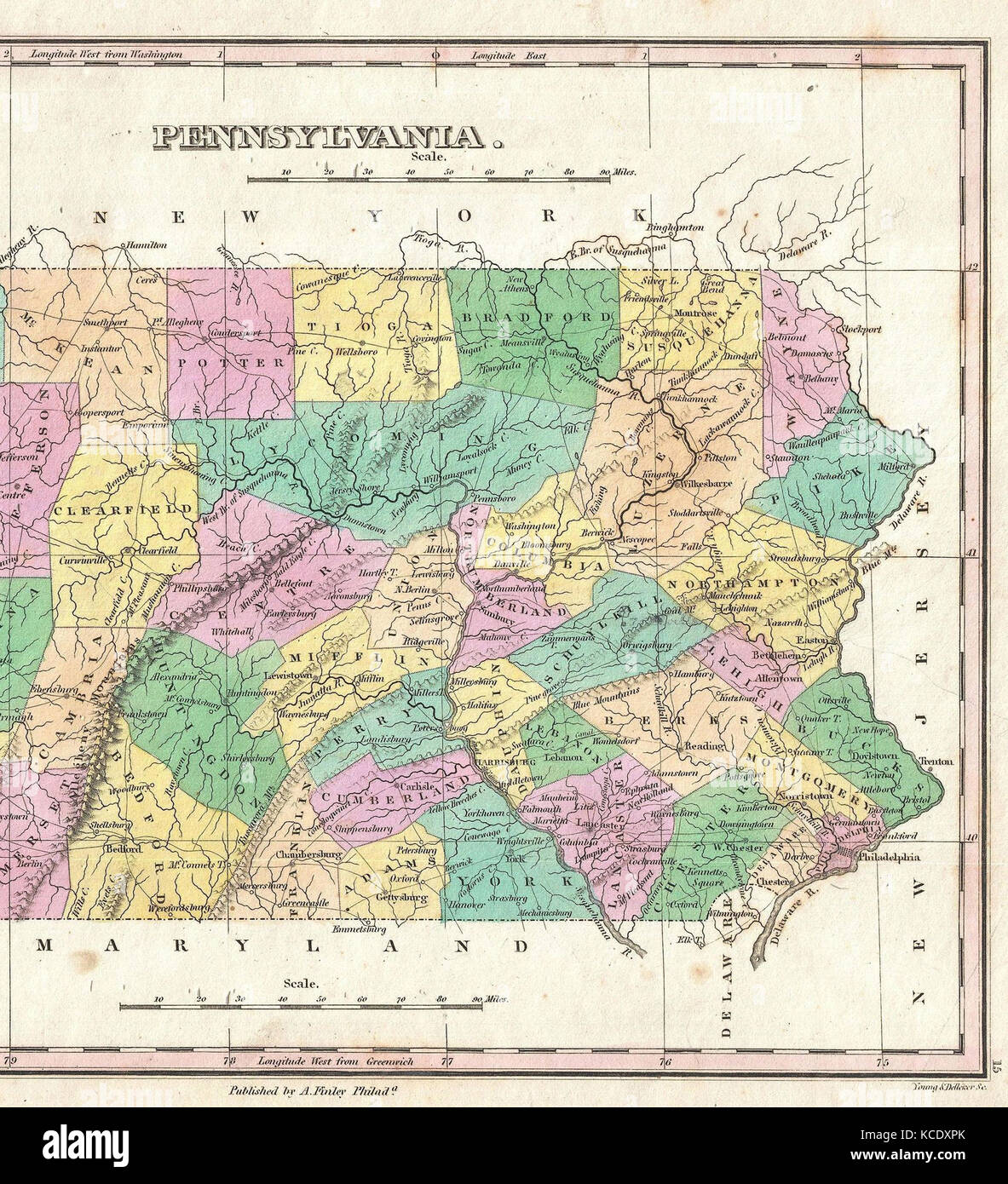 1827 Finley Map of Eastern Pennsylvania Anthony Finley mapmaker