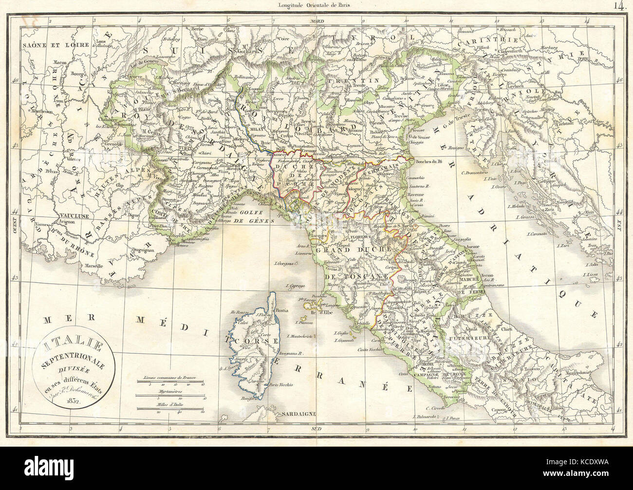 1832 Delamarche Map Of Northern Italy And Corsica Stock Photo