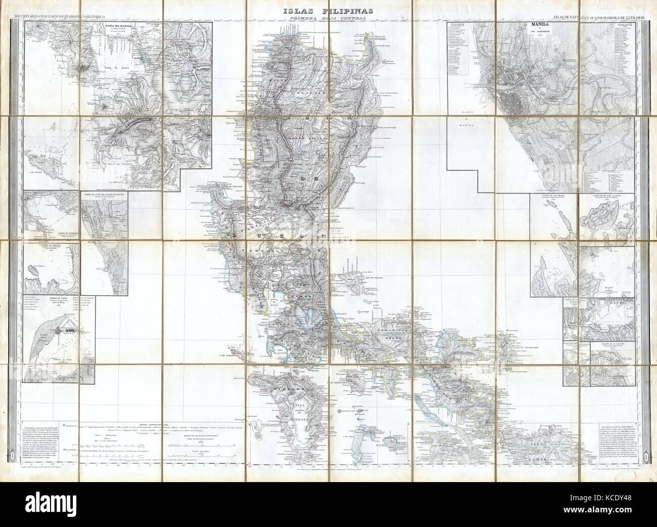 1852 Coello Morata Case Map of the Philippines Stock Photo