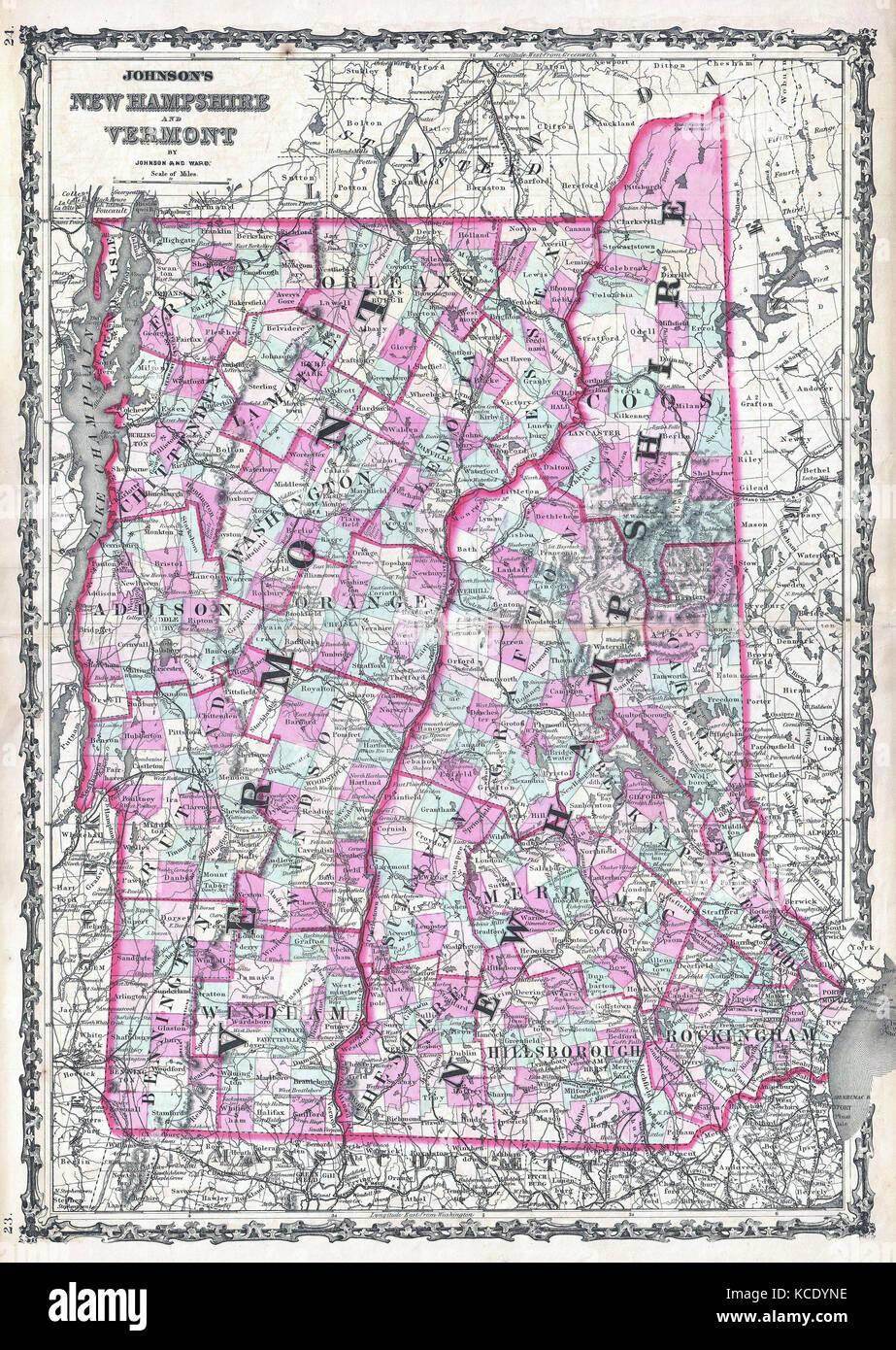 Vermont New Hampshire Map Stock Photos Vermont New Hampshire Map - Map of vermont and new hampshire