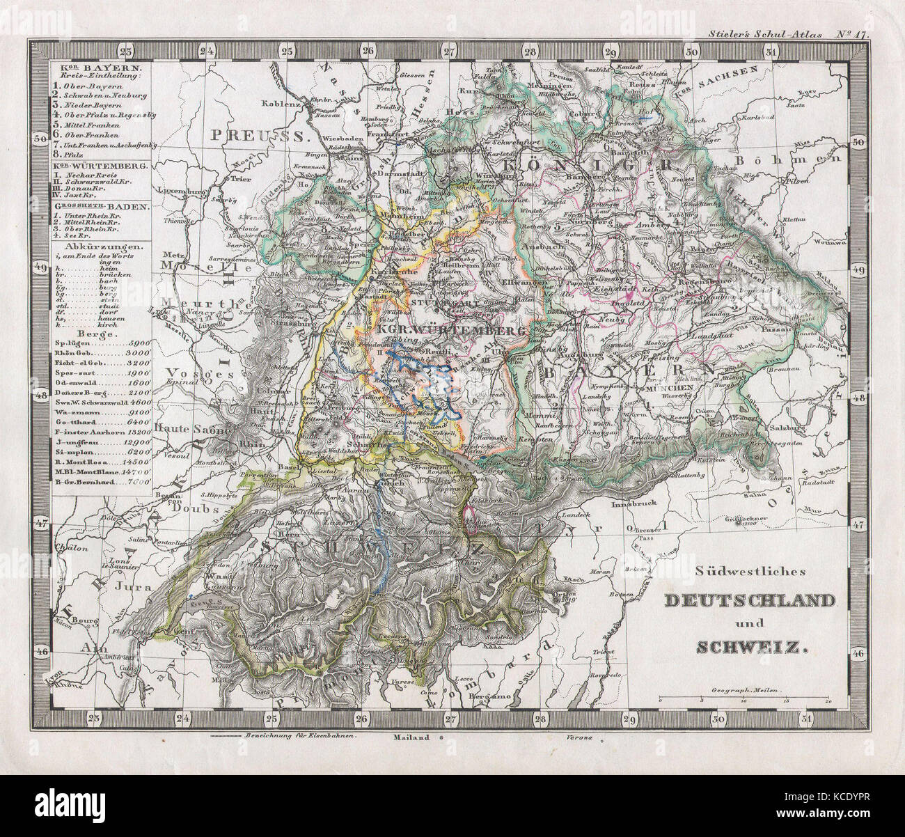 1862 Stieler Map Of Southern Germany And Switzerland Stock Photo