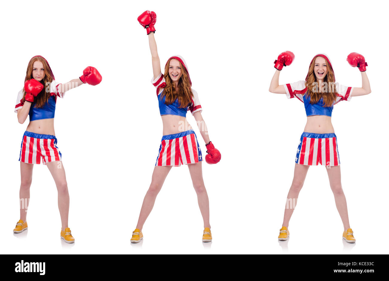 Woman Boxer In Uniform With Us Symbols Stock Photo 162578960 Alamy