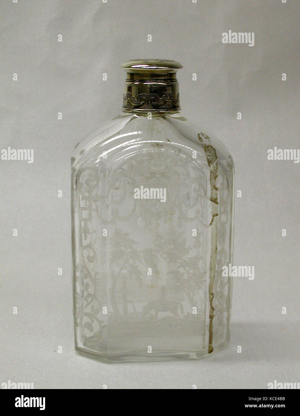 Bb Augsburg flask one of a pair 18th century german augsburg cut glass