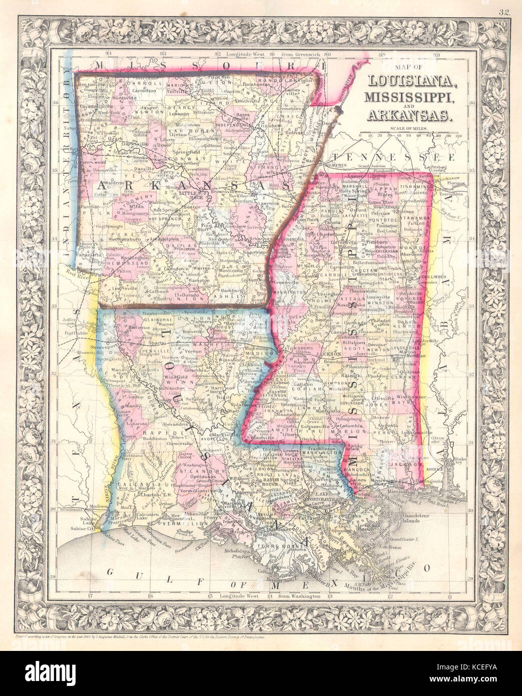 Mississippi And Louisiana Map.1864 Mitchell Map Of Louisiana Mississippi And Arkansas Stock