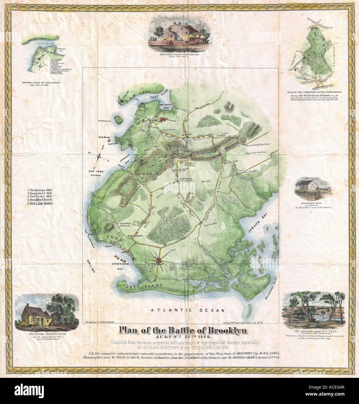 1867 Stiles Map Of Brooklyn New York City New York Stock Photo