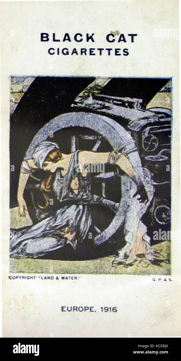 black cat cigarettes world war one propaganda card showing europe tied to the machine of war as the new year approaches