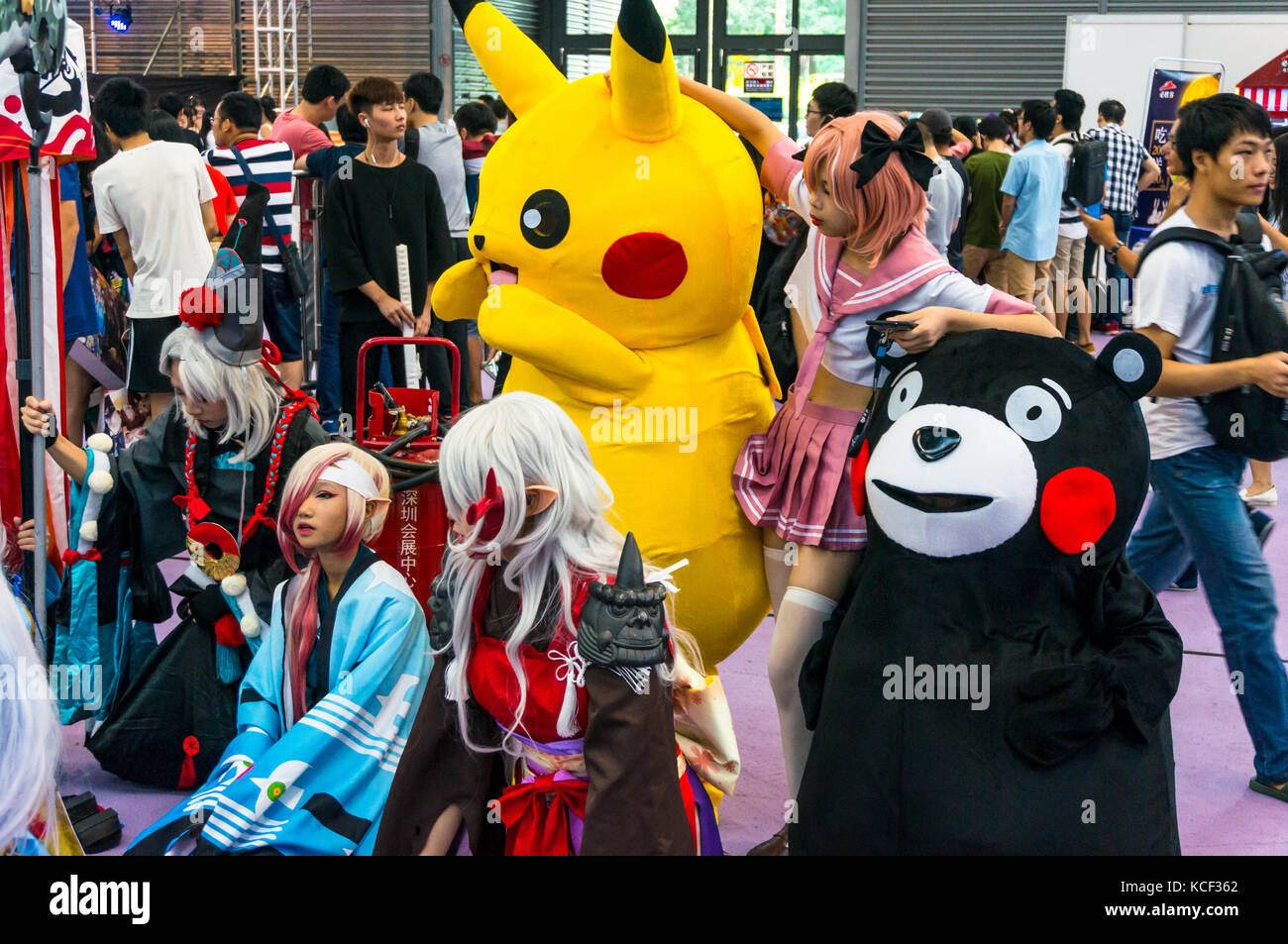 Pikachu And Kumamon Mascots With Japanese Anime Characters At 2017 Shenzhen Game Fair China Comic Con