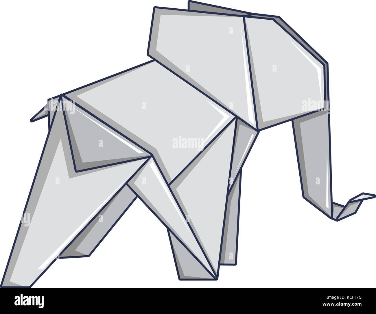 Origami elephant icon cartoon style stock vector art origami elephant icon cartoon style jeuxipadfo Choice Image
