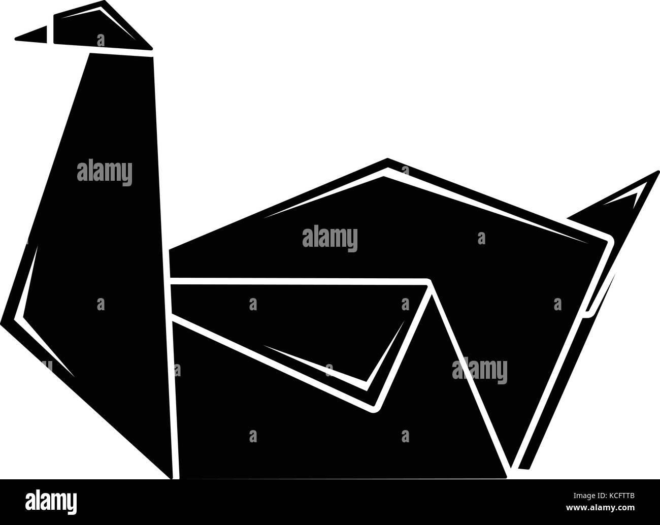 Origami Swan Icon Simple Black Style Stock Vector Art Pics Photos Diagrams