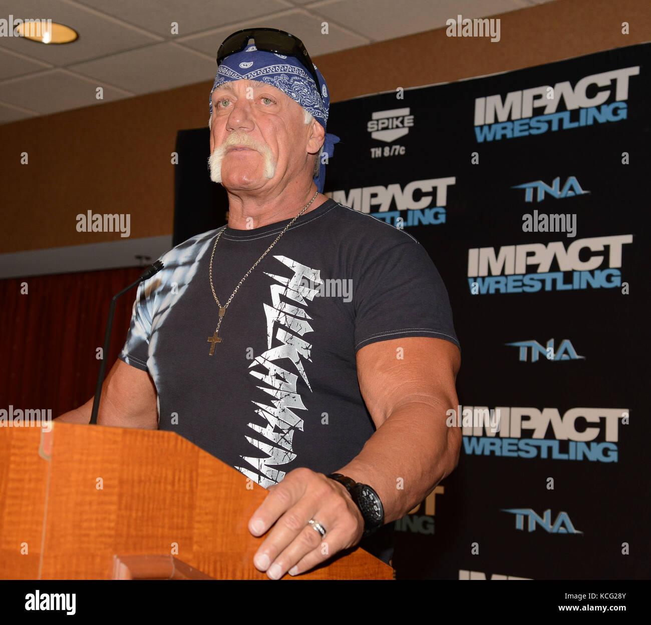 LAS VEGAS, NV - May 15: Hulk Hogan Helps Welcome TNA Impact Wrestling to