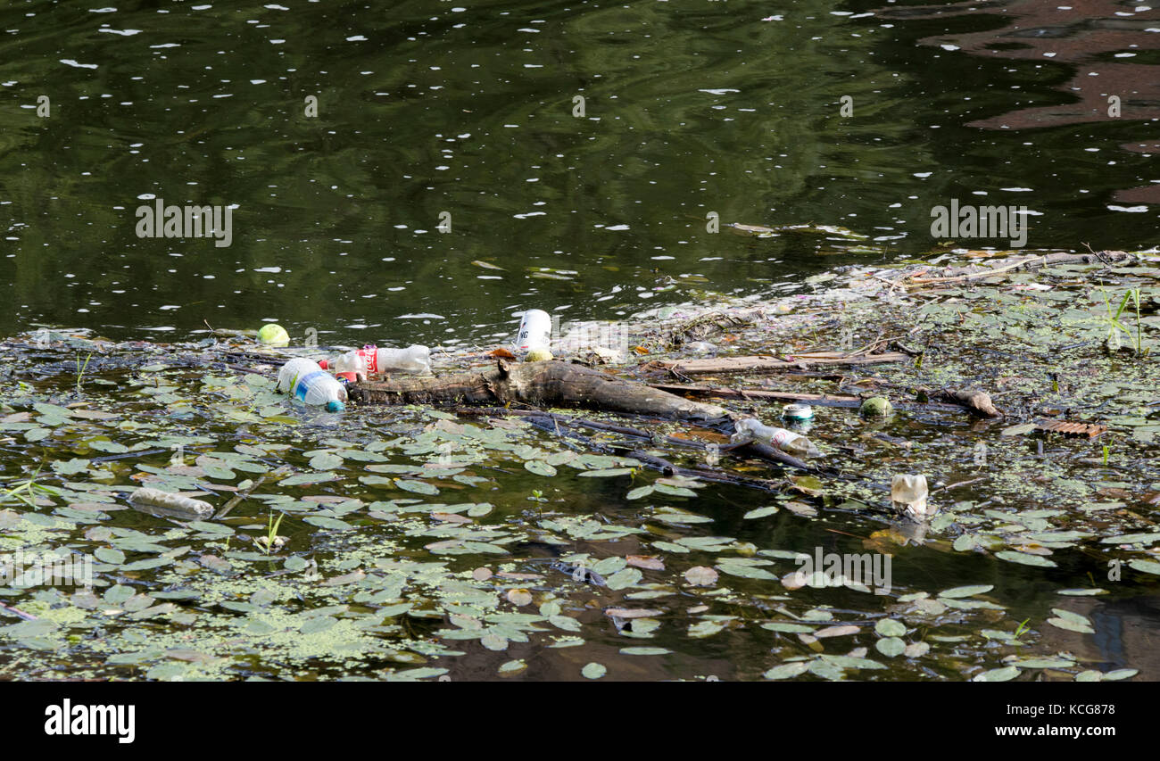 Plastic Bottles And Rubbish In River Wear In Durham City Uk Stock