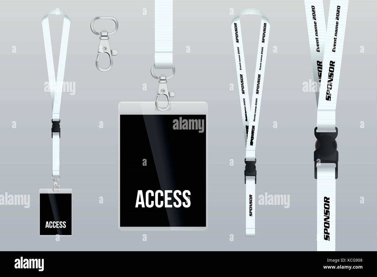 set of lanyard and badge design example vip pass template vector