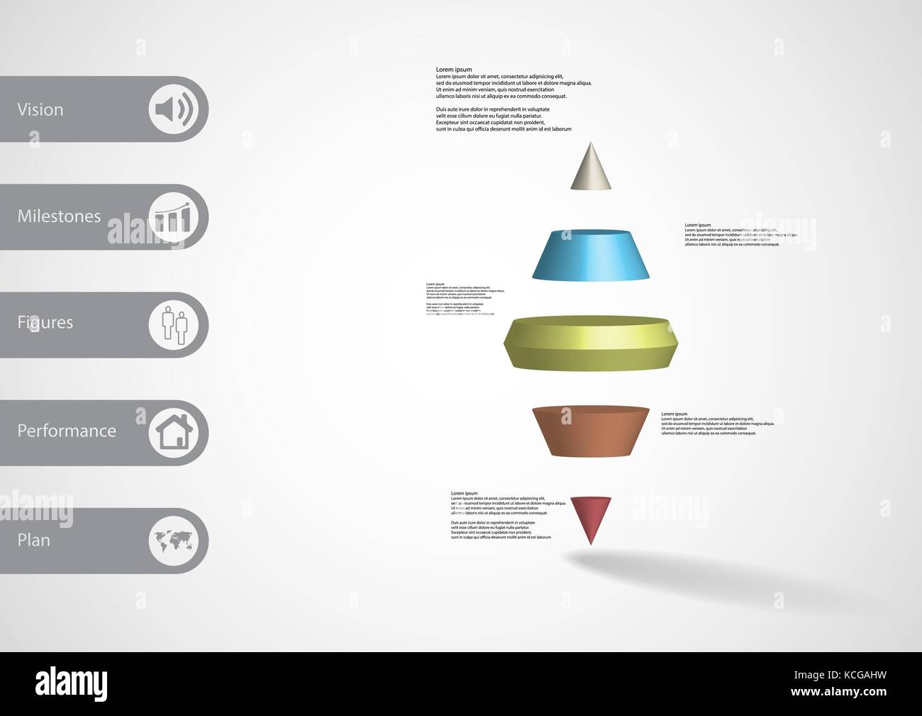 3D Illustration Infographic Template With Motif Of Two Spike Cone Horizontally Divided To Five Color Slices Simple Sign And Text On Side In Bars