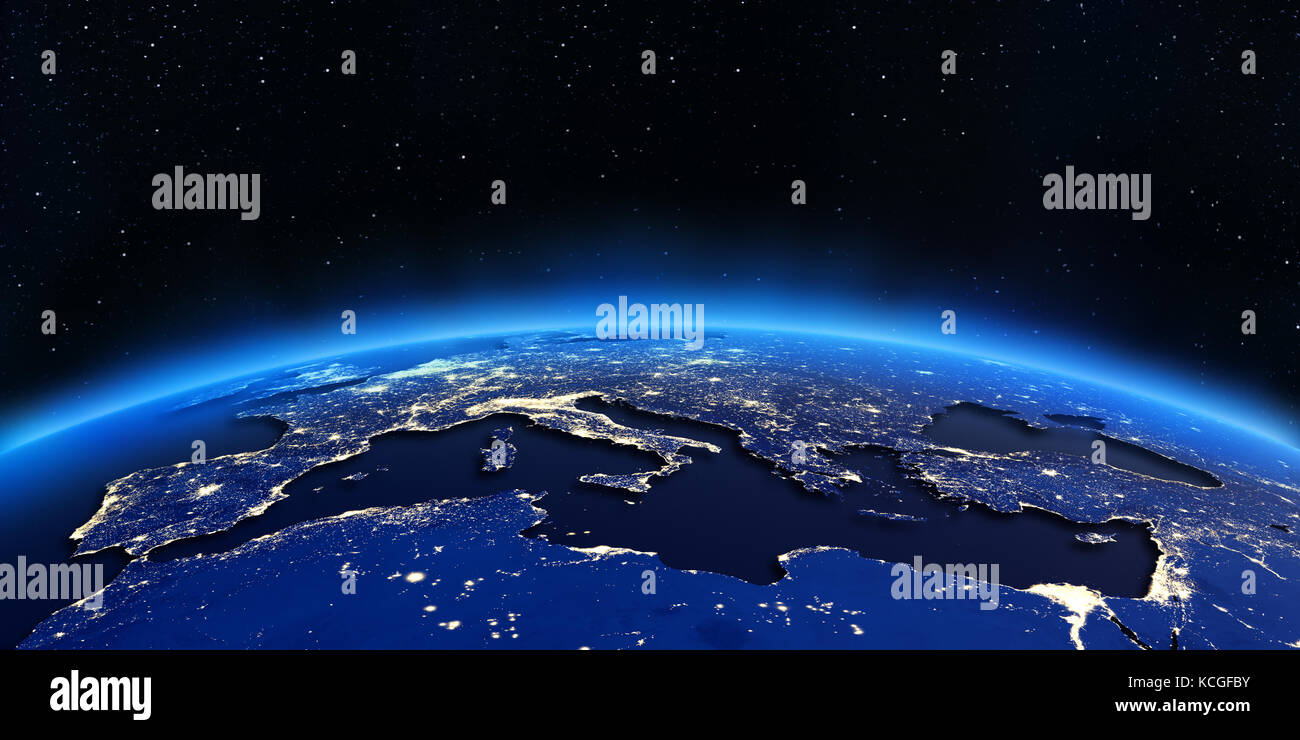 Europe and North Africa city lights map 3d rendering Stock Photo