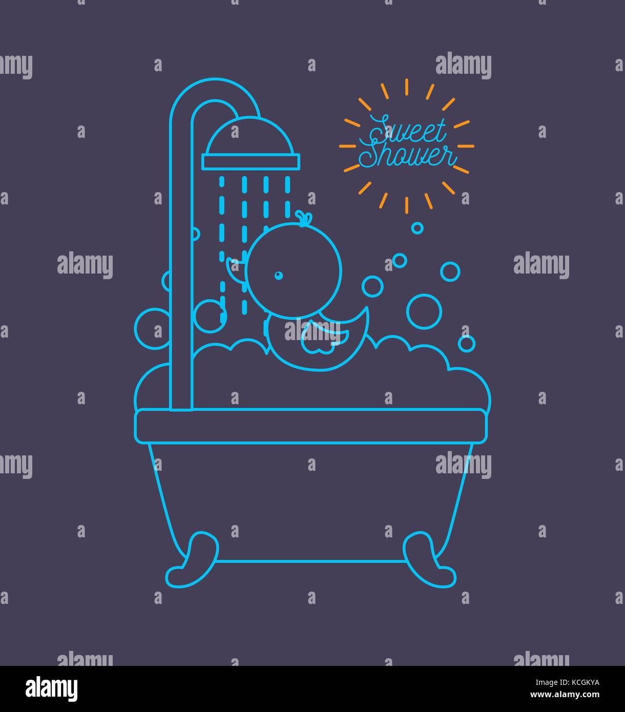 sweet shower bathtub and duck foam bubbles blue background Stock ...
