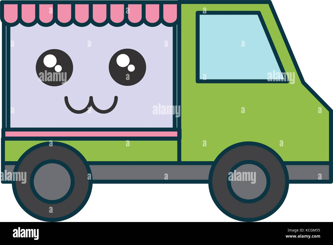 Kawaii Food Truck Icon Over White Background Vector Illustration
