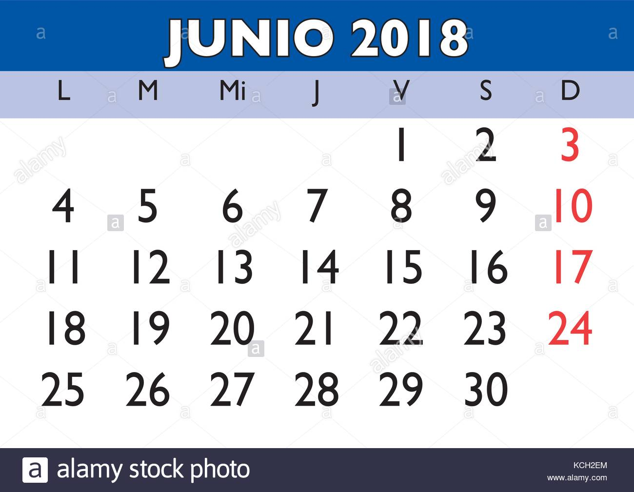 Calendario De Junio.June Month In A Year 2018 Wall Calendar In Spanish Junio 2018 Stock