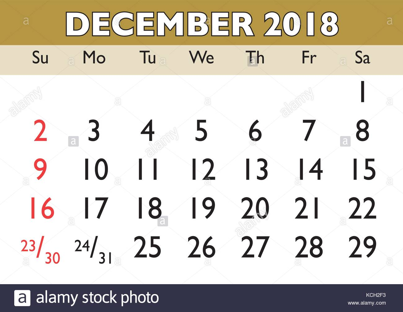 2018 Calendar December Month Vector Printable Calendar Monthly