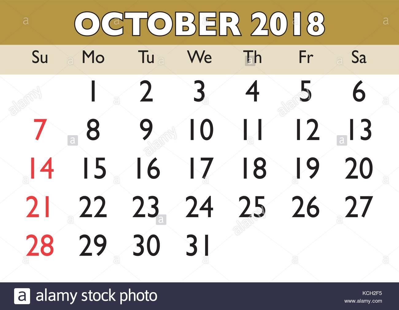2018 calendar october month vector printable calendar monthly