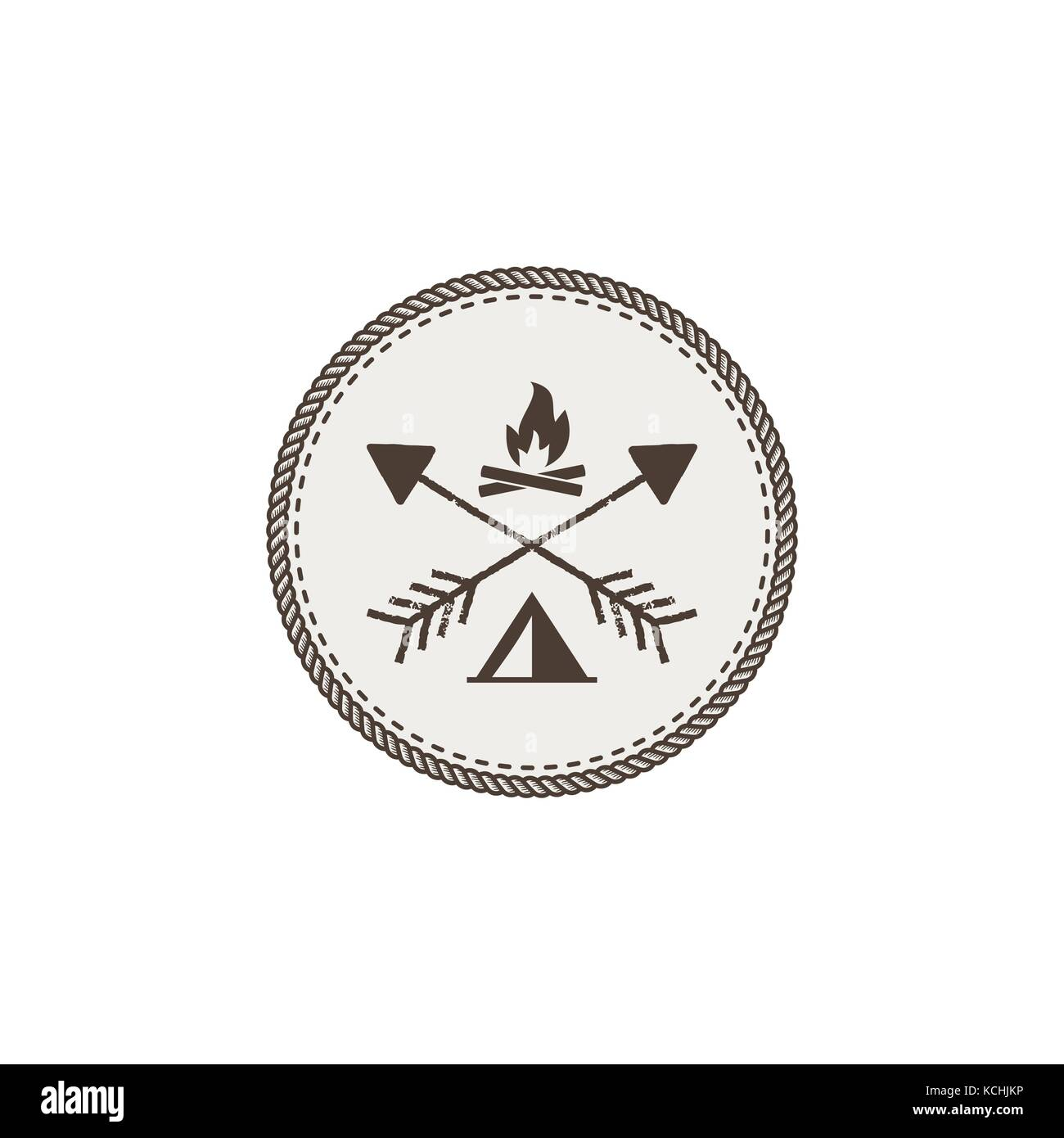 Outdoor activity patch. Adventure icon with bonfire and tent. Stock vector illustration isolated on white background  sc 1 st  Alamy & Outdoor activity patch. Adventure icon with bonfire and tent ...