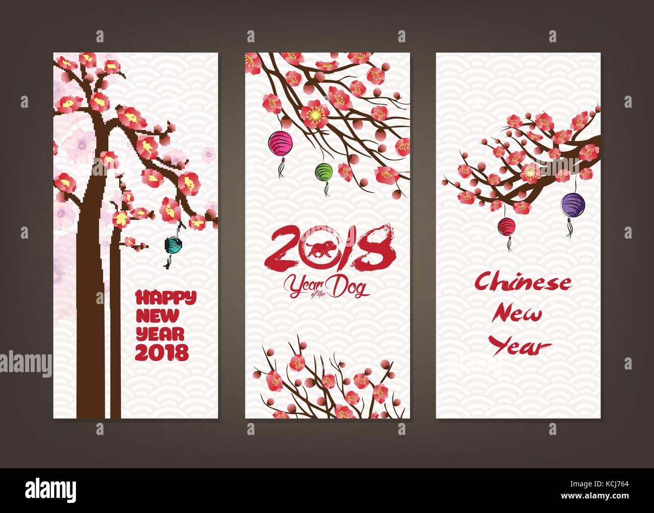 vertical hand drawn banners set with blossom chinese new year