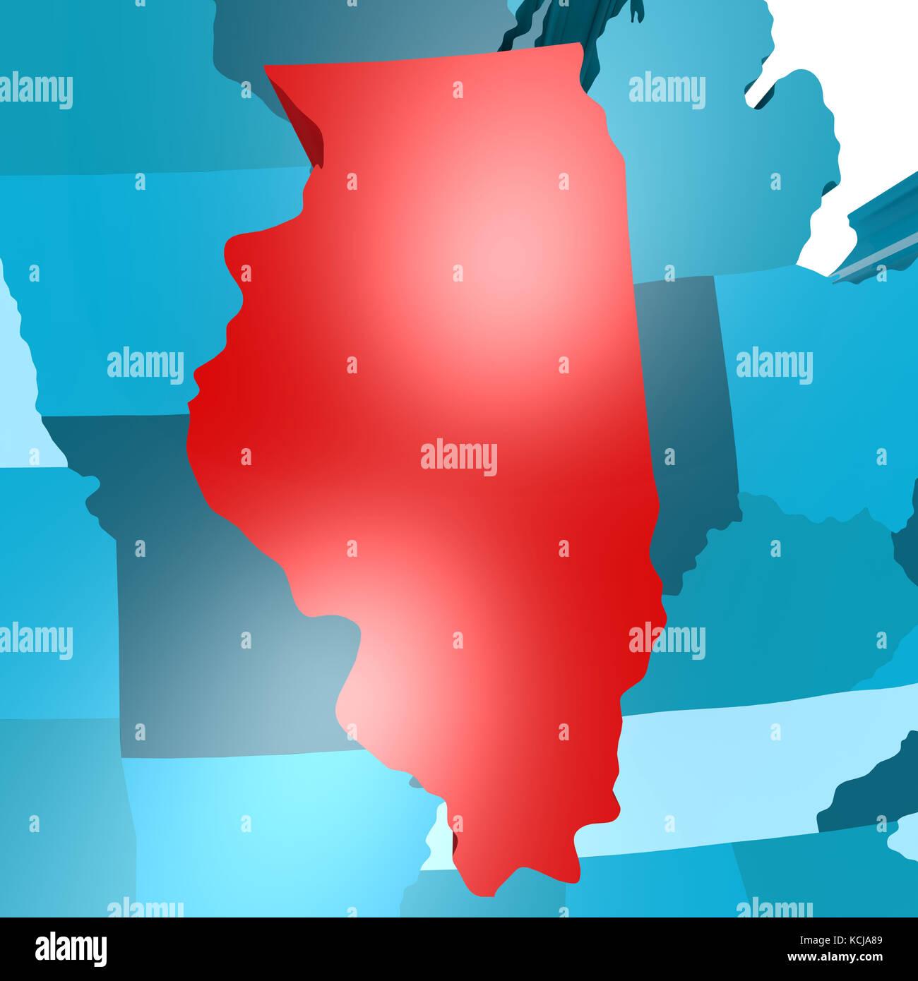 Illinois Border Stock Photos Illinois Border Stock Images Alamy - Illinois map usa
