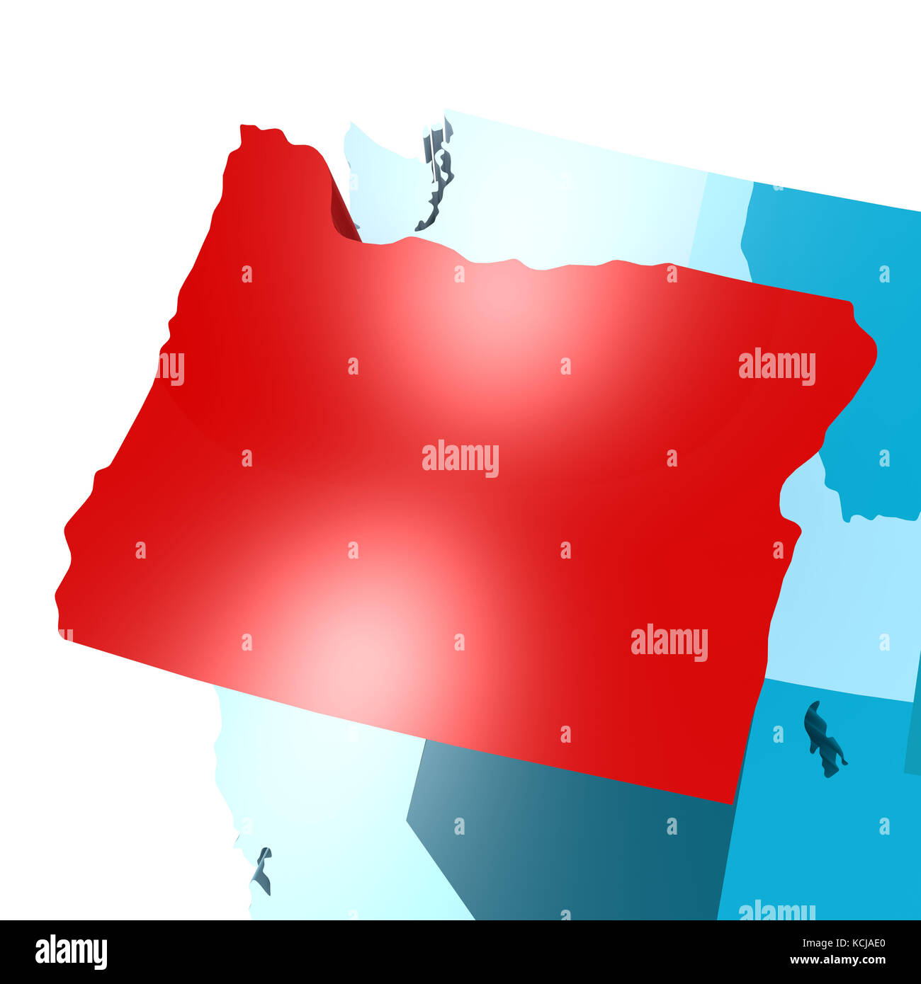 Oregon map on blue USA map image with hires rendered artwork that