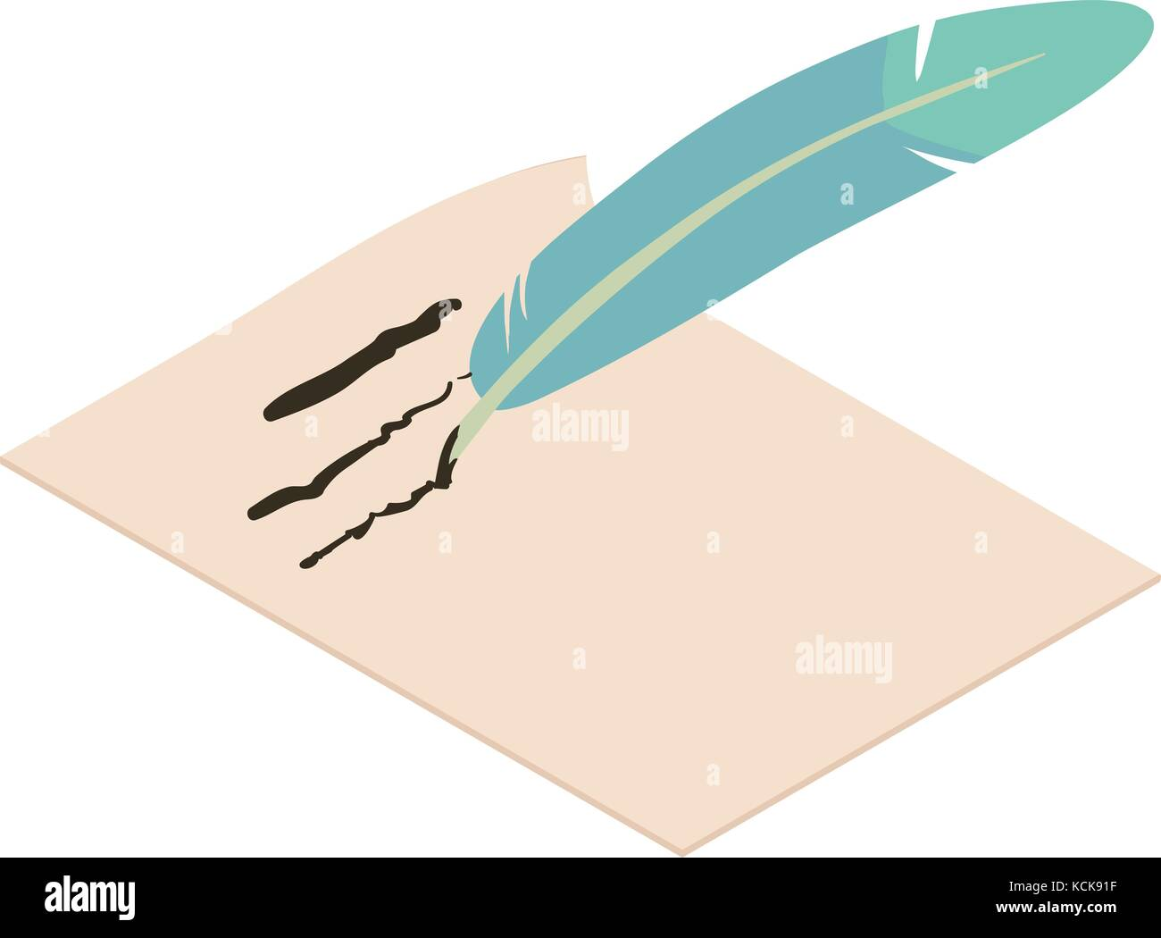 Write Feather Icon Isometric 3d Style Stock Vector Art