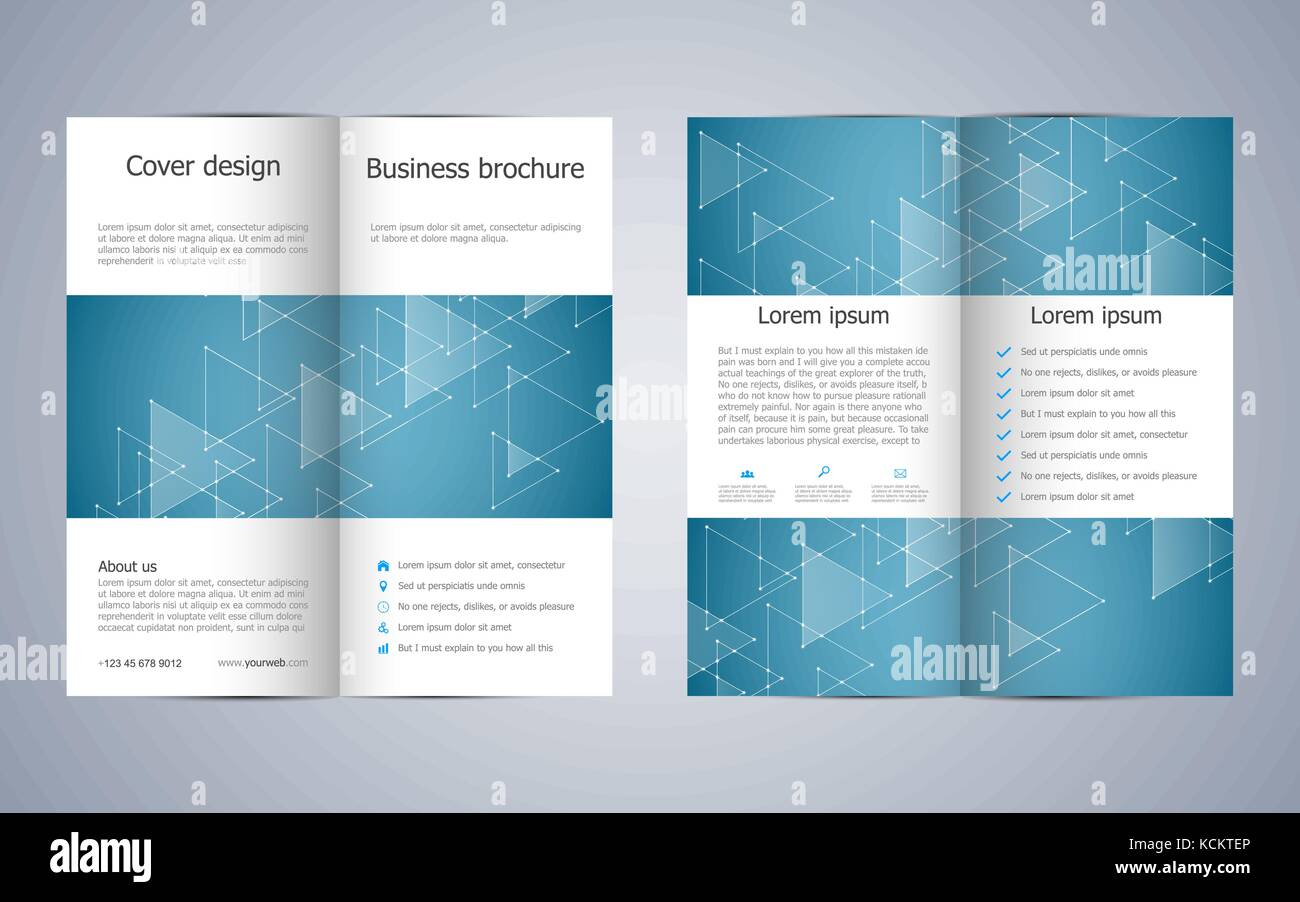 Bi Fold Business Brochure Template With Triangles Abstract Stock