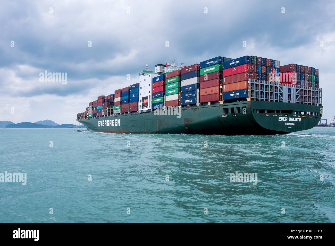 Giant Container Ship Leaves Port From Hong Kong Heading Out Into